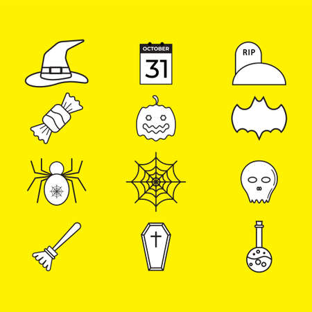 Halloween icon pack isolated on yellow color background. Uncolored vector collection. Black and white illustration design.