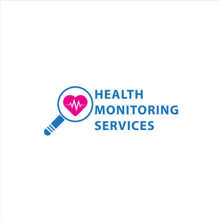 Health monitoring services design template isolated on white background. Magnifying glass and Heart shape with pulse vector illustration.. Bright blue and pink magenta color theme. 3/12