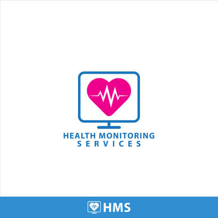 Health monitoring services design template. Display Monitor and Heart shape with pulse vector illustration.. Bright blue and pink magenta color theme. Isolated on white background 4/12