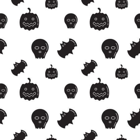 Black Skull, Bat and Pumpkin shape texture on white color background. Seamless pattern design template. Monochrome color theme. Vector illustration