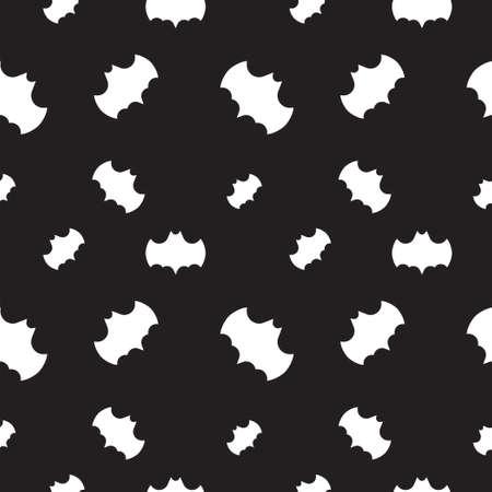 Bat shape vector illustration. Seamless pattern design template. Black and white color theme. 向量圖像