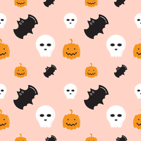 Skull, Bat and Pumpkin shape texture on pastel color background. Seamless pattern design template. White, black and orang color theme. Vector illustration