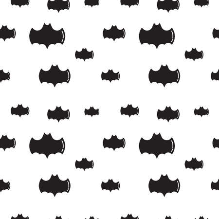 Black bat shape vector illustration on white color background. Seamless pattern design template.
