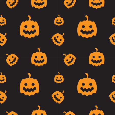 Orange Pumkins texture on black color background. Seamless pattern design template. Vector illustration.