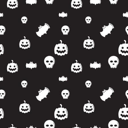 Skull, Bat and Pumpkin shape texture. Seamless pattern design template. Monochrome, black and white color theme. Vector illustration