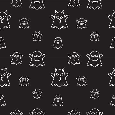 Cute ghost seamless pattern design template. Flat character vector illustration. White outline design style in black color background.