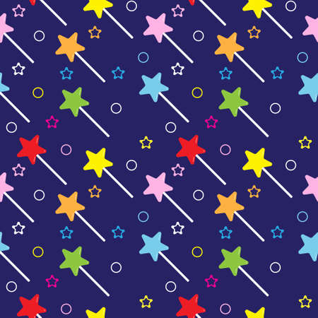 Star shaped lollipop seamless pattern on navy blue color background. Colorful magical stick vector illustration for halloween , christmas or new year background