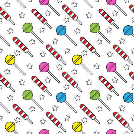 Seamless pattern with various lollipop candies and rounded star shapes element on white color background. Flat cartoon stock vector illustration. Suitable for birthday, christmas or new year event 免版税图像 - 157548068