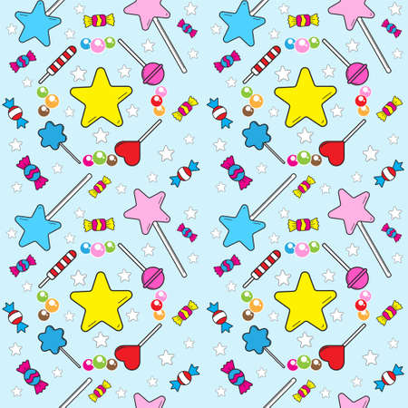 Seamless pattern with various sweet candies element on light blue color background. lollipop, candy ball, rounded star. Vector illustration design template. Suitable for birthday, christmas or new year event