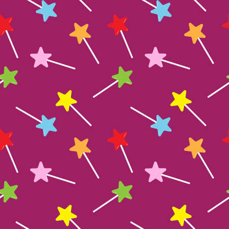 Star shaped lollipop seamless pattern design template on purple color background. Colorful magical stick vector illustration for christmas, new year or halloween background 免版税图像 - 157548080