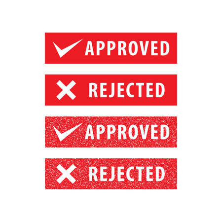 Set of Approved and Rejected Stamp vector illustration isolated on white background. Sign, label, red color