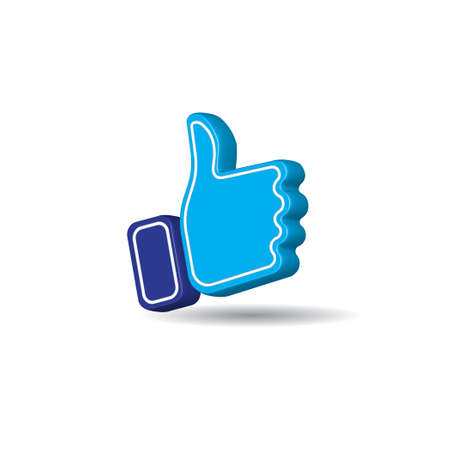 Blue thumb up icon isolated on white color background. Social Media like button. Creative 3D vector illustration
