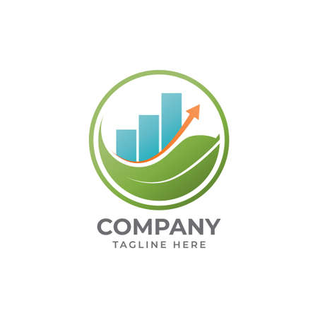 Mindful Saving Logo Design Concept With Leaf Shape, Bar Chart And Level Up Arrow Element. Illustrates The Financial Mindfulness. Fit for Investment Company, Consultant Etc