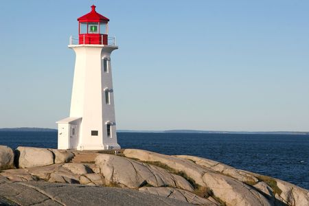 A famous Canadian iconic symbol of the Peggys Cove Lighthouse in Nova Scotia.