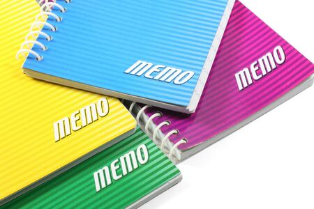 ringed: Assorted colors of ringed paper memo pads. Stock Photo