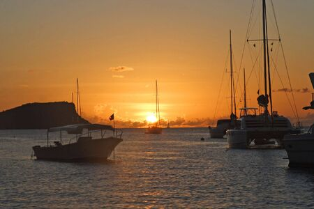The sunset over Admiralty Bay in Bequia in the Caribbean. photo
