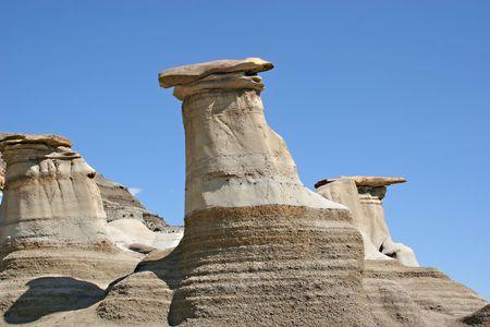 badland: Hoodoos, Dinosaur Provincial Park in Albertas badlands, around Drumheller, Alberta