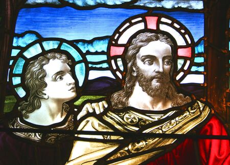disciple: Stained glass window, circa 1900.  Jesus and a disciple theme.