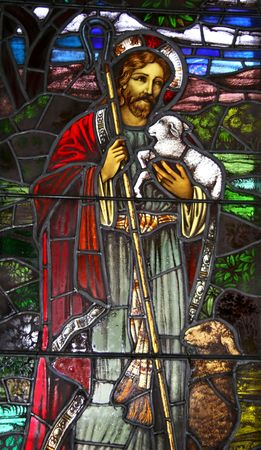 shepherd: Jesus the Good Sheppard Stained Glass Window circa 1900.