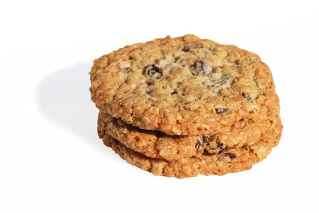 oatmeal: A stack of three healthy raisen oatmeal cookies. Stock Photo