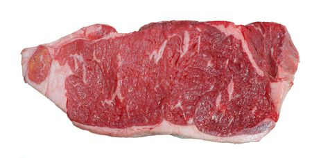 Raw striploin beef steak isolated against white.