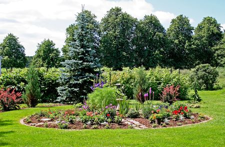 A little summer garden in the country. Stock Photo