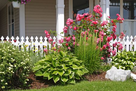Mixed flower bed in front of a picket fence.