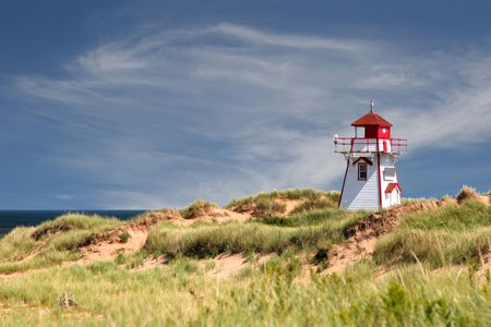 Lighthouse at Dalvay, in Cavendish National Park, on the north side of Prince Edward Island, Canada.