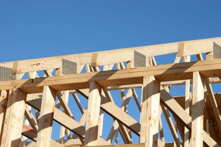 The wooden rafters in a new  roof. Stock Photo - 3378521