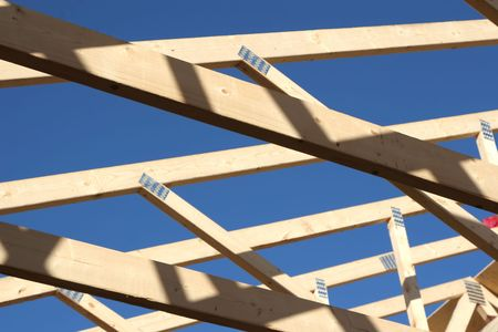 sawhorse: New roof on a  or building. Stock Photo