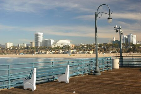 View of Santa Monica Beach, California from the Santa Monica Pier. Stock Photo