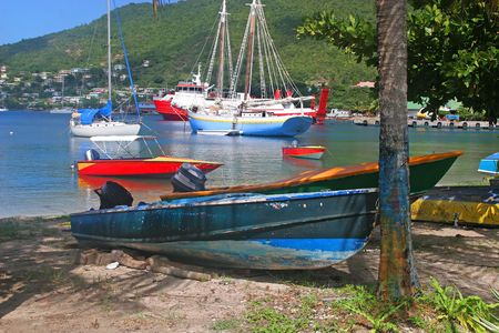 grenadines: Boats moored in Admiralty Bay, Bequia, an island close to St. Vincent and the Grenadines in the Caribbean. Stock Photo