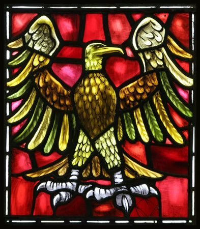 stained glass windows: The eagle is the evangelical symbol of St. John.  From an old stained glass window in an Anglican Church in Bermuda.