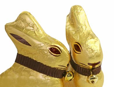 A pair of chocolate golden Easter Bunnies. Stock Photo - 4223094