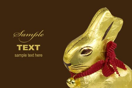 A golden chocolate Easter bunny isolated on a dark background. Stock Photo - 4330120
