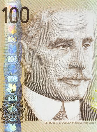borden: Detail of a Canadian 100 dollar bill showing the portrait of Sir Robert Borden, Canadas prime minister from 1911 to 1920.