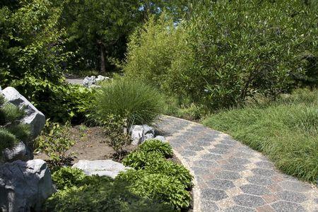 A peaceful walkway through a Japanese garden photo