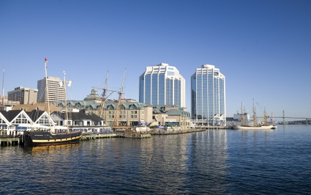 Tall ships docked in the early morning on Halifaxs waterfront at Purdys Wharf photo