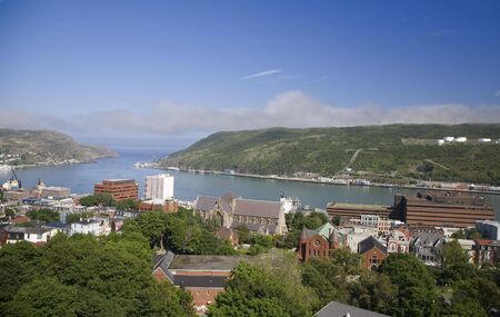 city park boat house: View of the city of St. Johns and the harbour in Newfoundland, Canada. Stock Photo