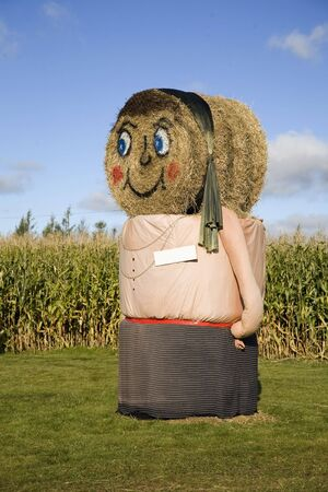 decoration: Big scale fall decoration  of a scarecrow on a corn farm using haybales to form a female figure. Stock Photo