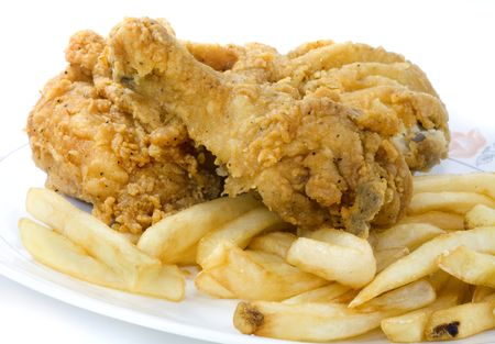 Take out greasy deep fried chicken and chips. Stock Photo - 5668168