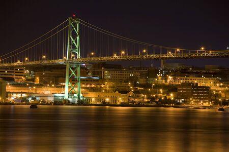 The Angus L. MacDonald Bridge spanning Halifax Harbor, Nova Scotia, linking Halifax and Dartmouth. photo