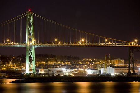 The Angus L. MacDonald Bridge spanning Halifax Harbor, Nova Scotia, linking Halifax and Dartmouth.