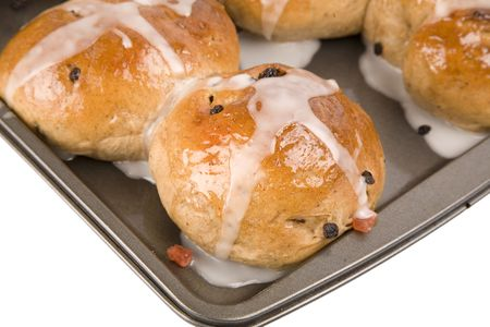 Fresh from the oven and an Easter time treat, traditional homemade hot cross buns.   Banco de Imagens