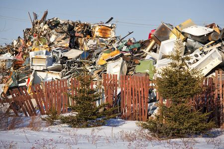 appliance: A winter view of a garbage dump for old appliances.