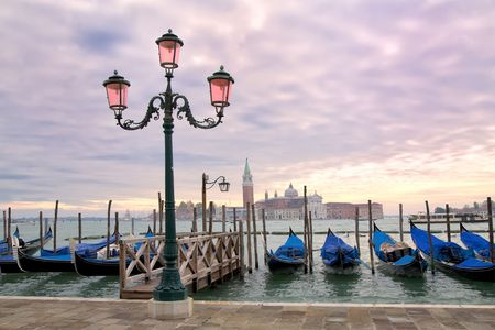 Sunset on the Grand Canal in Venice, Italy. Stock Photo
