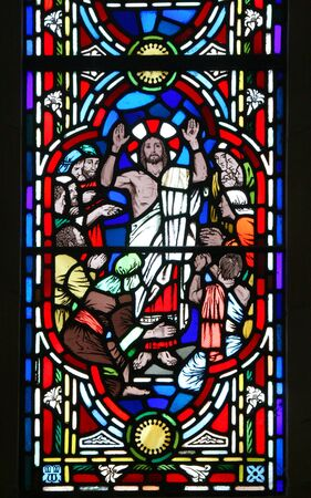 disciples: The Risen Christ and his disciples. Detail of a stained glass window in the Anglican Bermuda Cathedral built in 1866. Located in Hamilton. Stock Photo