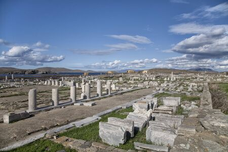 archaeological sites: The expanse of ruins on Delos. The Greek island of Delos, part of the Cyclades islands, near the island of Mykanos, is one of the most important historical and archaeological sites in Greece. Extensive excavations of the ruins are ongoing. Considered by t