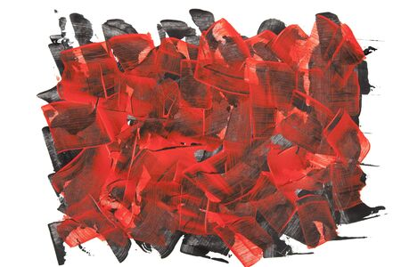 broad: Red and black textured background composed of broad strokes and hard edges of red acrylic paint. Stock Photo