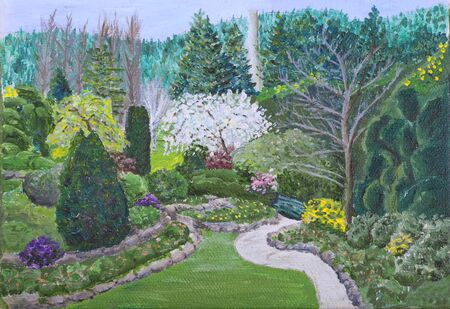 botanic garden: A small painting of an early spring scene in the Butchart Gardens, Victoria, British Colombia, Canada. An Impressionistic approach in this oil painting where the brush strokes are clearly visible.